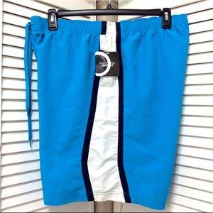 Ashford Sport Men's Swim Trunks Blue White Stripe